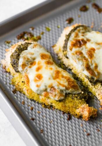 Pesto Chicken topped with mozzarella cheese