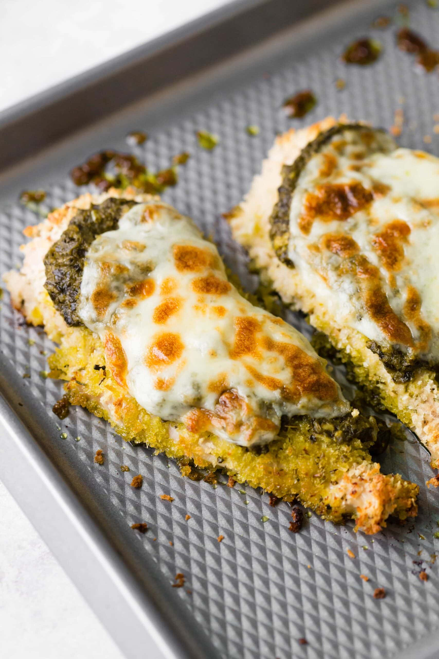 Pesto Chicken topped with mozzarella cheese