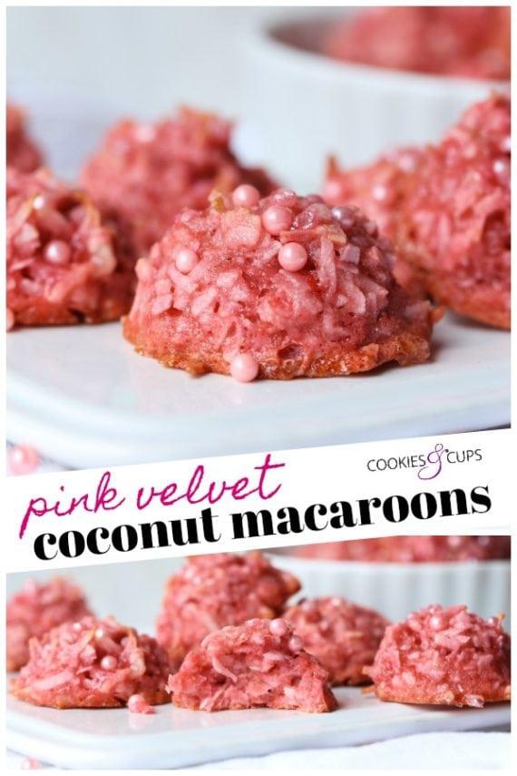 Pink Velvet Coconut Macaroons