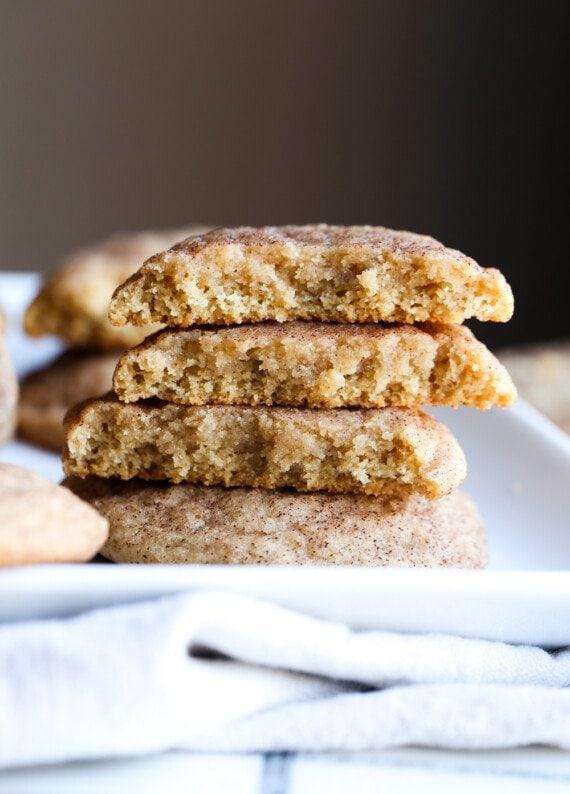 Cinnamon Sugar cookies broken in half stacked
