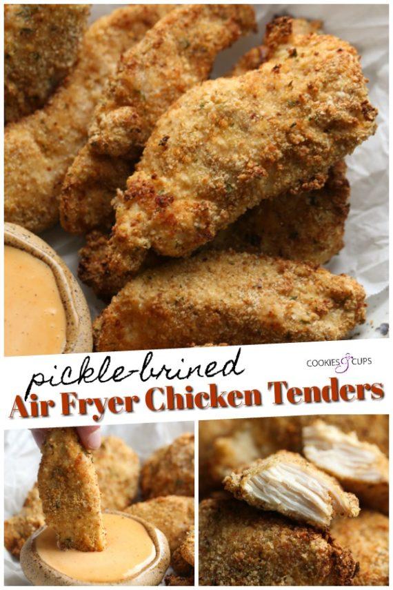 Air Fryer Chicken Tenders brined in pickle juice