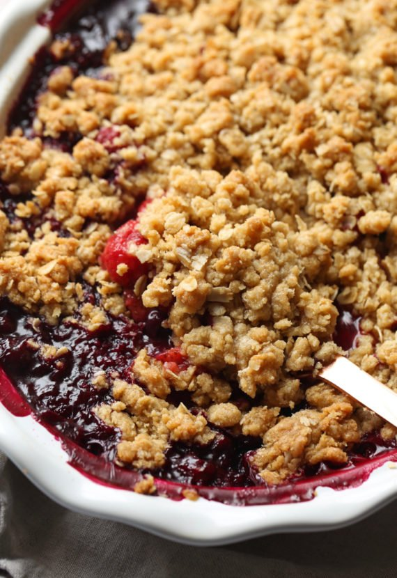Triple Berry Crisp with streusel topping