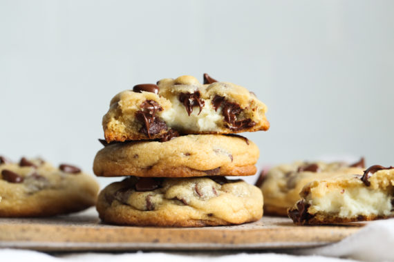 Cheesecake Cookies are chocolate chip cookies filled with a thick layer of cheesecake