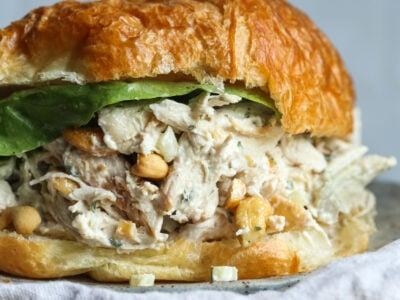 Easy Chicken Salad Recipe on a Croissant