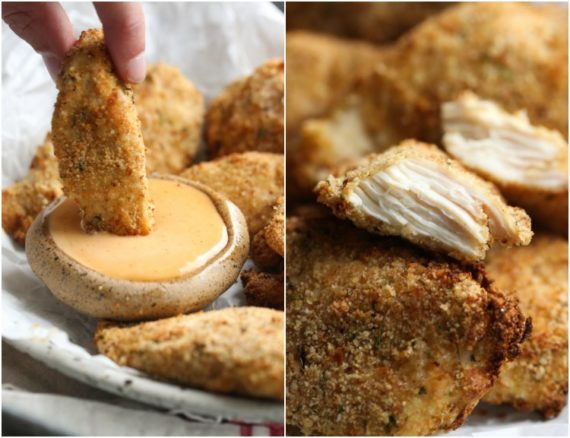 Dipping Chicken Tenders in Dipping Sauce