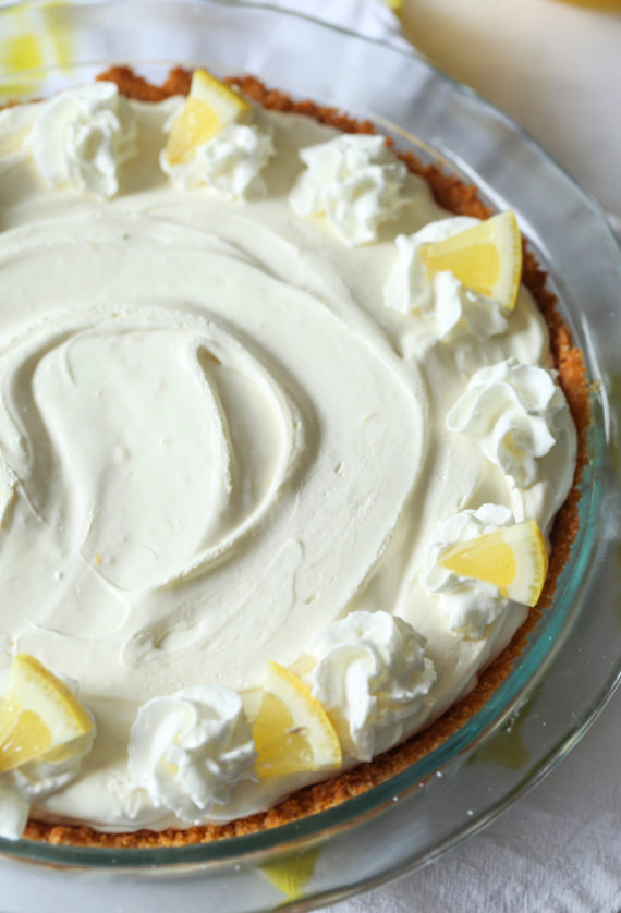 Creamy Lemonade Pie topped with whipped cream