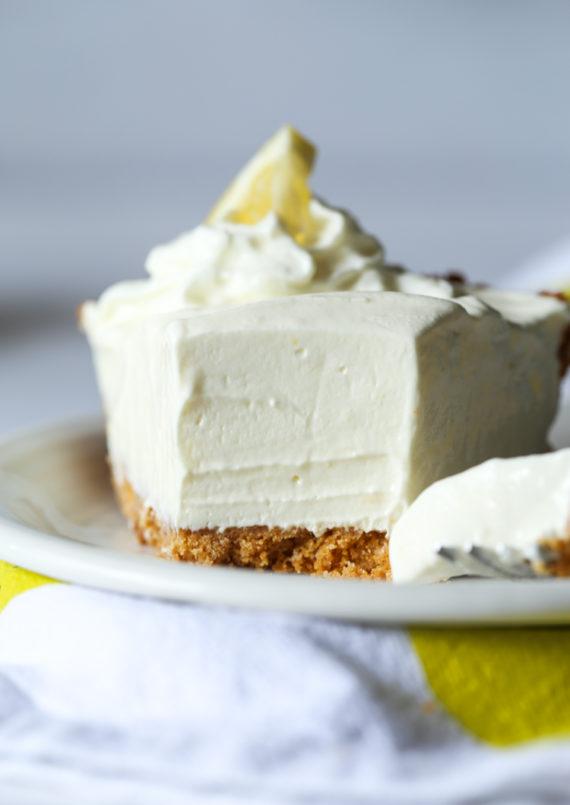 Lemonade Pie is sweet and tart on top pf a crunchy graham cracker crust