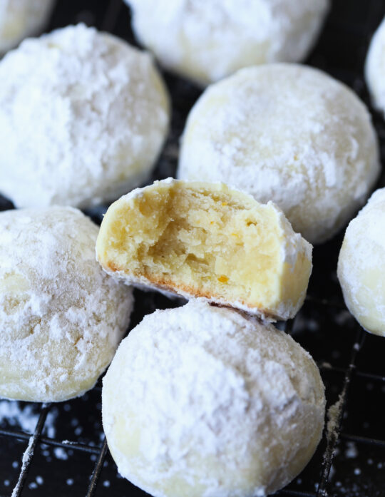 Orange Cookies dusted with powdered sugar
