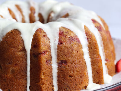 The Best Strawberry Pound Cake Recipe with icing