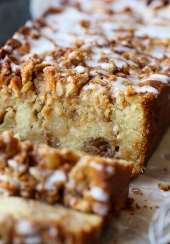 Apple Fritter Bread is loaded with apples and drizzled with icing