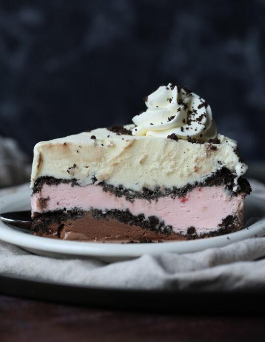 Neapolitan Ice Cream Cake is an easy ice cream cake recipe