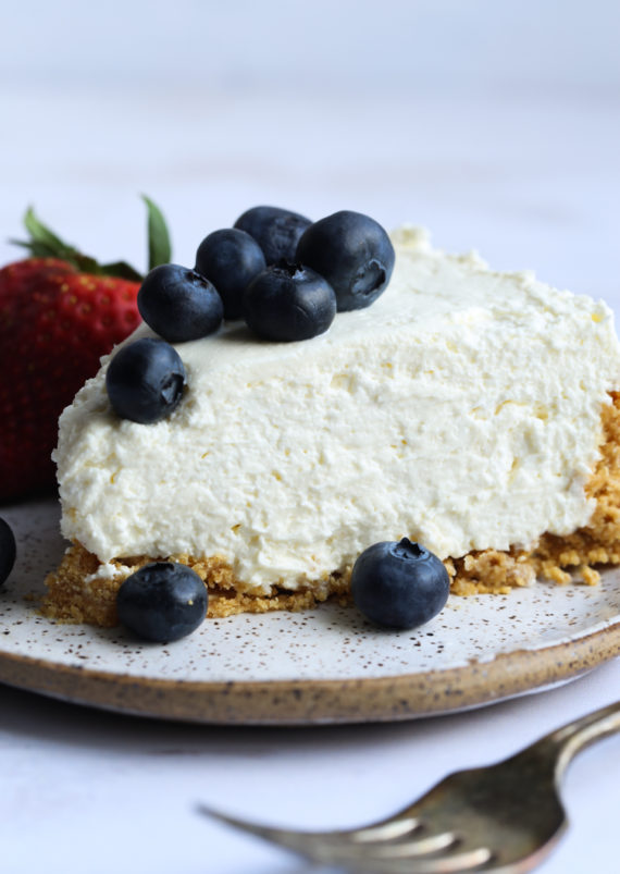 Easy No Bake Cheesecake Recipe topped with blueberries