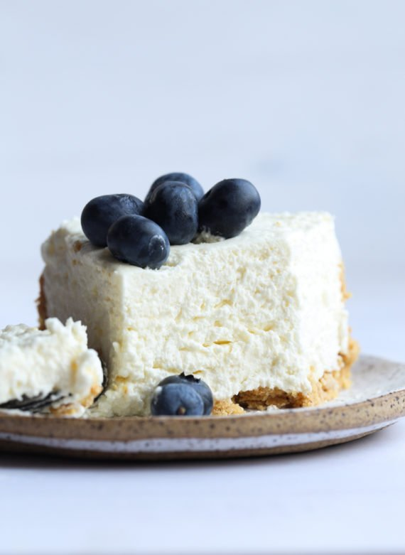 NO Bake Cheesecake with a mousse texture on a graham cracker crust