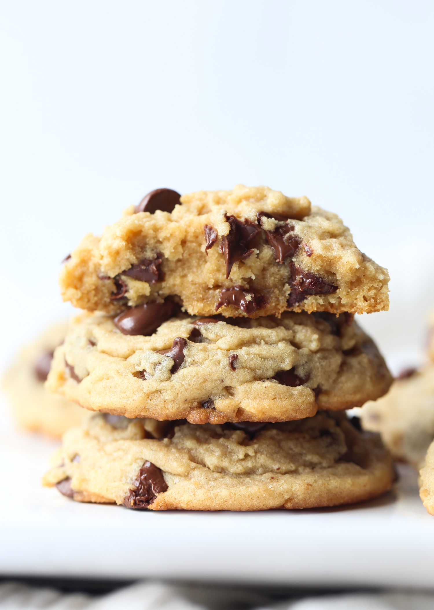 Peanut Butter Chocolate Chip Cookies with melty chocolate chips
