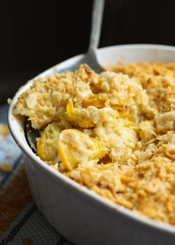 Squash Casserole topped with buttery Ritz crackers is an easy side dish recipe