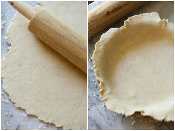 Rolled out pie crust on a counter and in a pan.