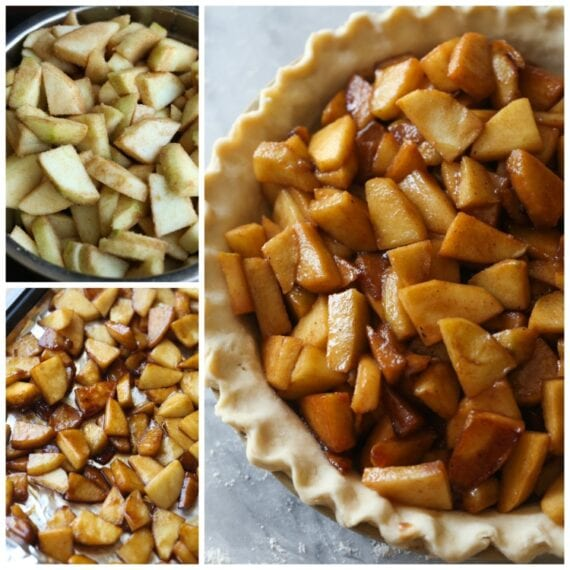 Apple pie filling before, during and after it is cooked.