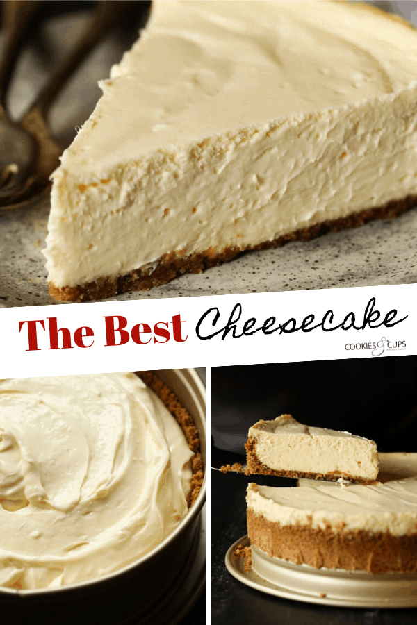 Pinterest image showing a collage of cheesecake photos.