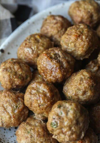 Oven Baked Meatballs in a dish for dinner
