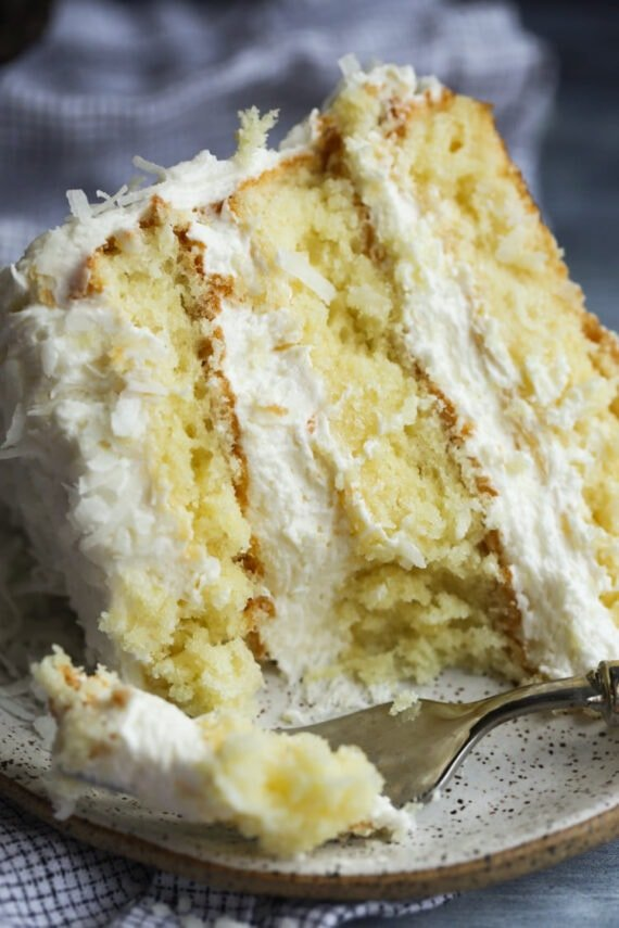 Coconut Cake With a Bite Taken Out