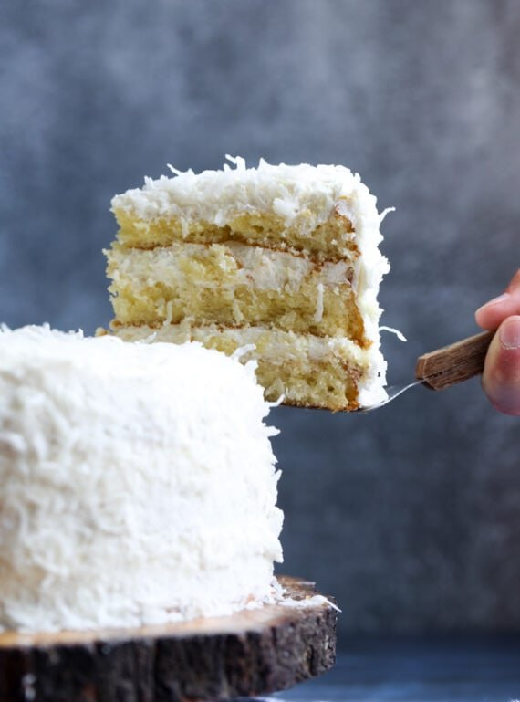 Slicing a Coconut Cake