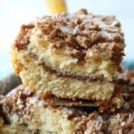 A slice of the very best coffee cake recipe ever!