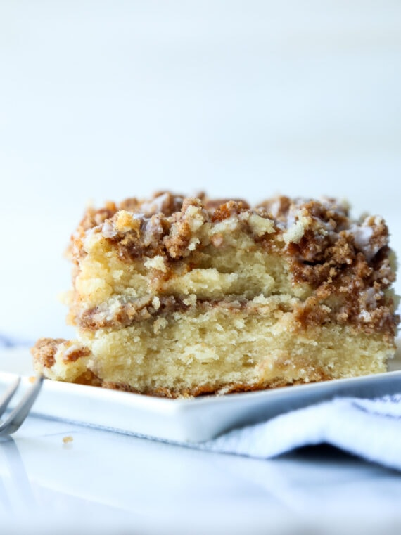 The Best Coffee Cake Recipe has a cinnamon sugar layer baked inside and crumb topping