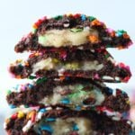 M&M Cookie Dough Stuffed inside of a chocolate sprinkle cookie