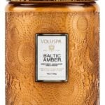 Voluspa Japonica Baltic Amber Large Embossed Glass Jar Candle