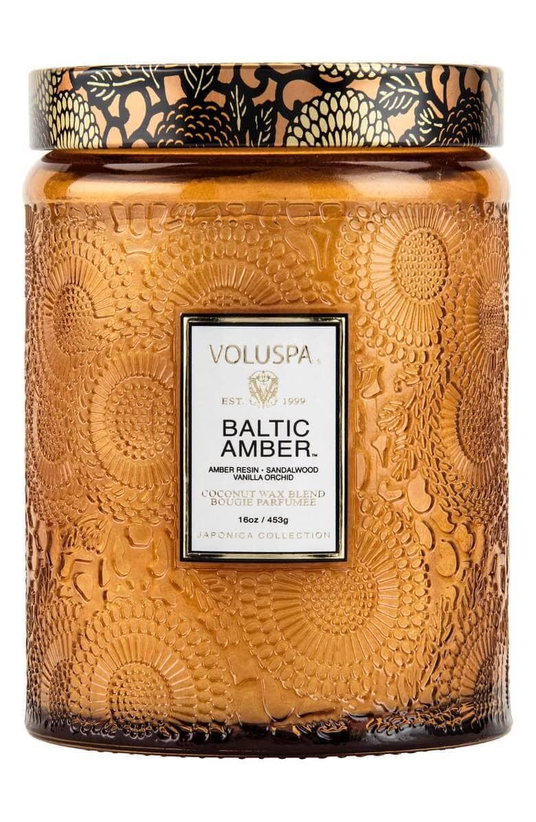 Voluspa Japonica Baltic Amber Large Embossed Glass Jar