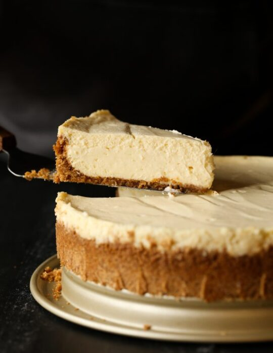 Picture of a slice of homemade cheesecake