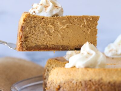 Sliced Pumpkin Cheesecake on a platter