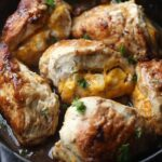 Apple Stuffed Chicken Breasts in a skillet