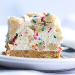 No Bake Cookie Dough Cheesecake with sprinkles