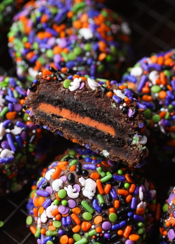 Chocolate Sprinkle Halloween Cookies with an Oreos cookie baked inside