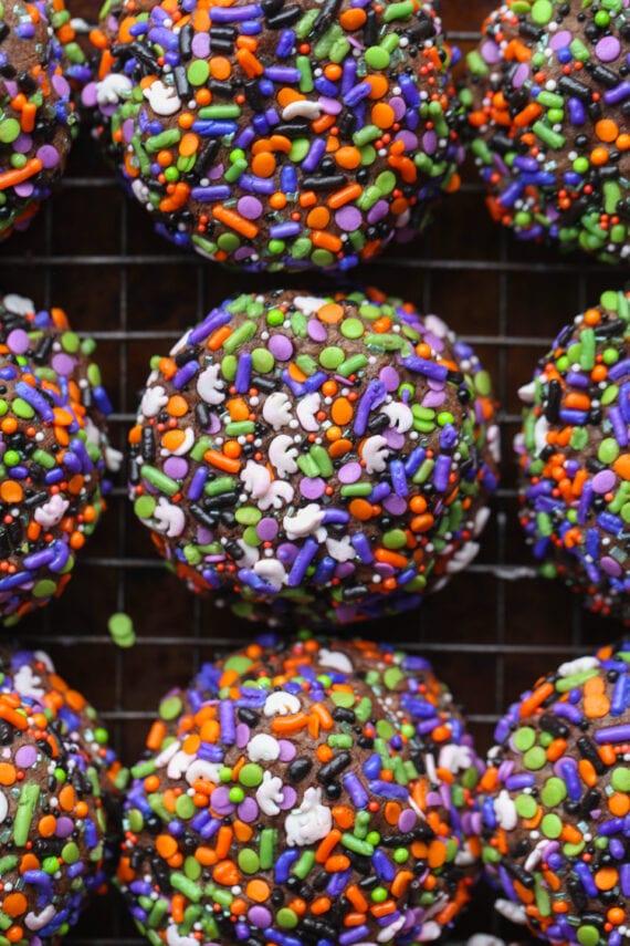Chocolate cookies covered in Halloween Sprinkles make adorable Halloween Cookies