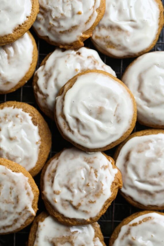 Pumpkin Molasses Cookies with sweet icing on top