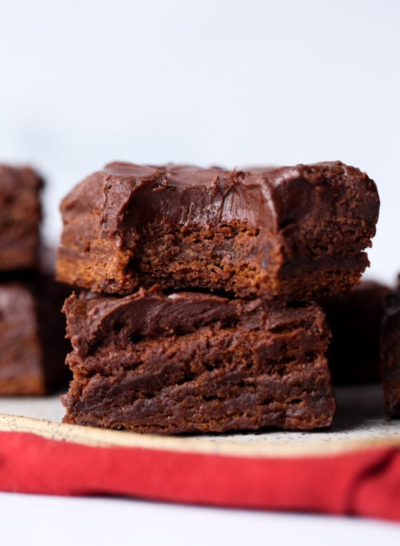 Stacked Brownies on a plate