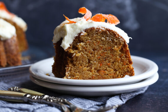 Sliced Carrot Cake on a plate