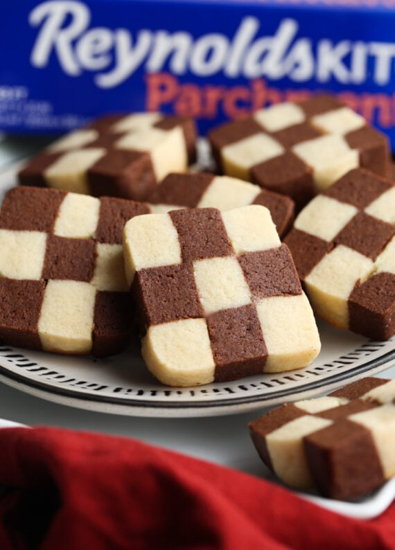 Checkerboard Cookies on a plate