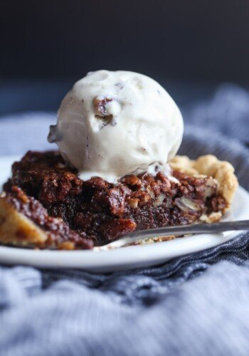 Chocolate Pecan Pie on a plate