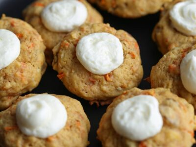 Carrot Cake Thumbprint Cookies on a plate