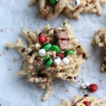 Elf Cookies with M&Ms, marshmallows, spriinkles, and chocolate drizzle