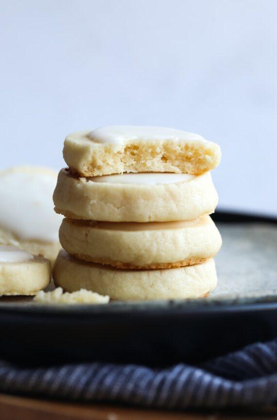 Lemon Meltaway Cookies stacked