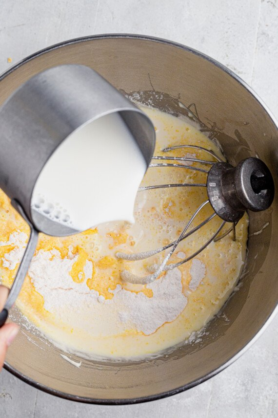 Milk poured into a pudding mixture.