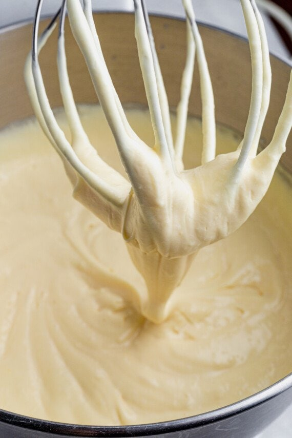 Vanilla pudding in a mixing bowl.