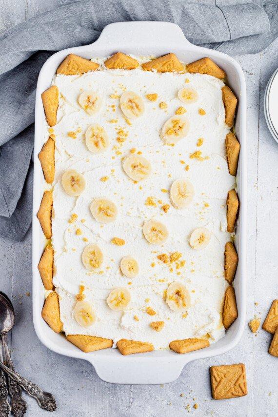 A baking dish filled with banana pudding.