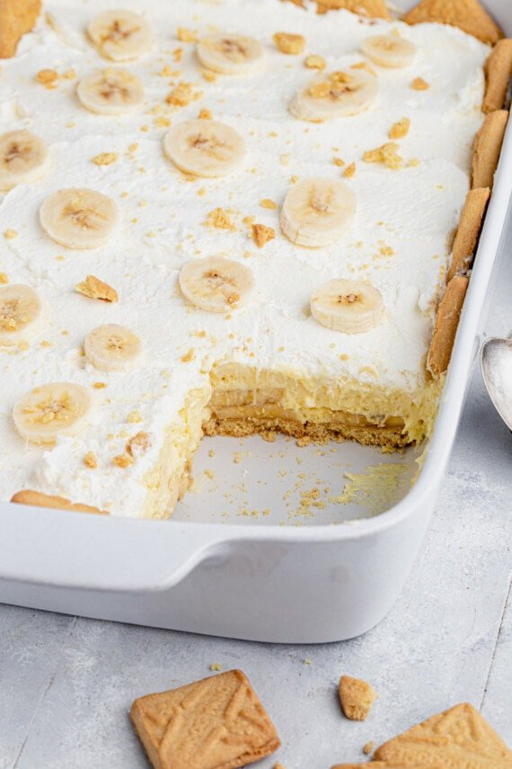 Baking dish of shortbread cookies and pudding.