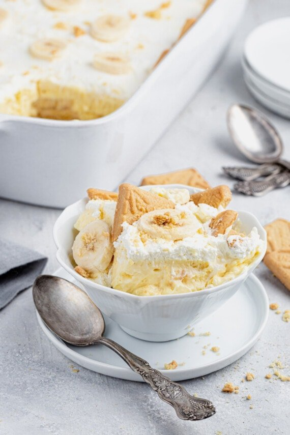 Banana pudding in a bowl with a spoon.