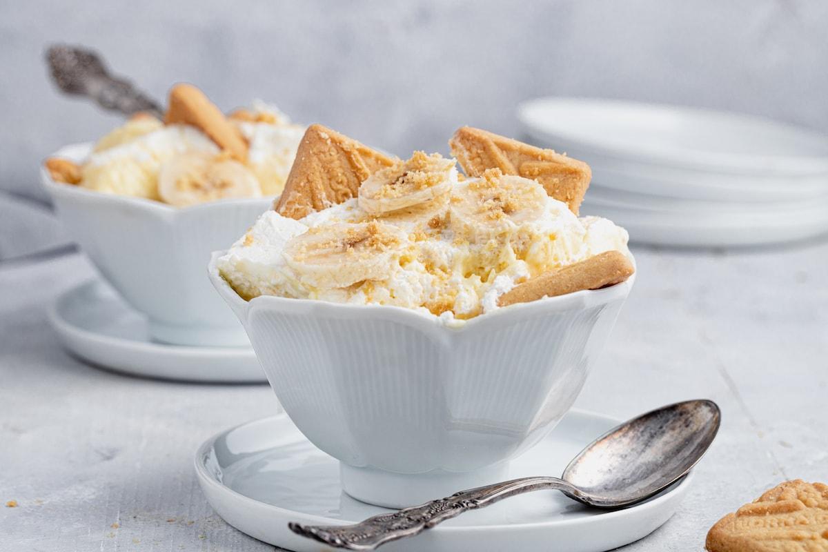 Bowl of vanilla pudding with bananas and cookies.